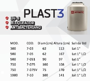 tanque de agua tricapa 300 l ultradelgado affinity +flotante