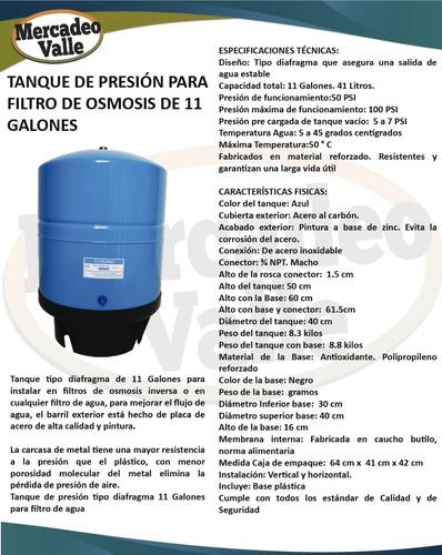 tanque de presion 11 galones metal osmosis filtro de agua