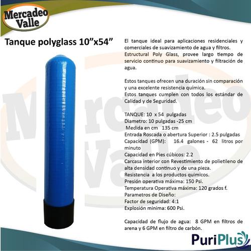 tanque polyglass 10 x 54 pulgadas capacidad 1.5 pies cubicos