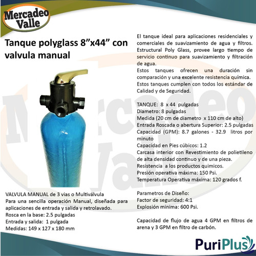 tanque polyglass 8 x 44 pulgadas valvula manual filtro agua