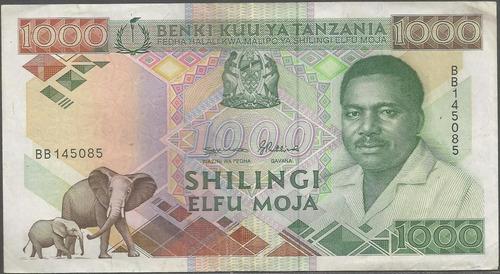 tanzania 1000 shillings nd1990 p22a