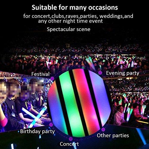 "taotuo 30 pcs 19 ""led light-up foam sticks rally rave"