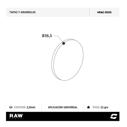 tapa 2.5mm diametro 36.5mm p/ soldar fin tubo caño raw parts