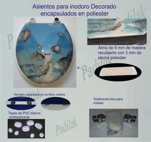 tapa asiento de inodoro decorado delfines resina poliester