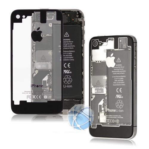 tapa de bateria iphone 4/4s blanco negr transparente carcasa