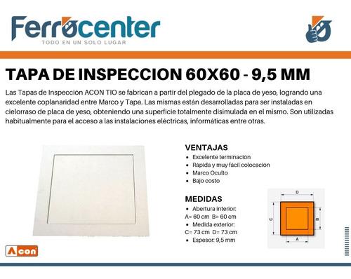 tapa de inspección marco oculto 60x60 cielorraso durlock 9,5