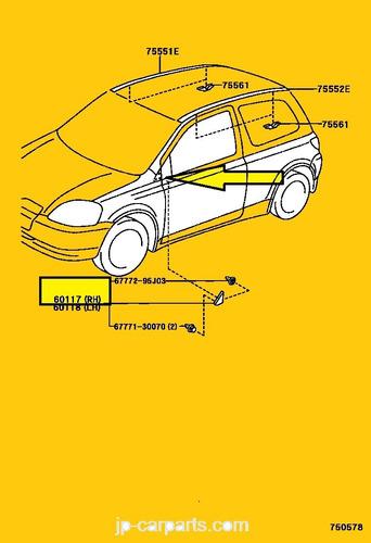 tapa extension derecha de retrovisor yaris 1999 - 2005