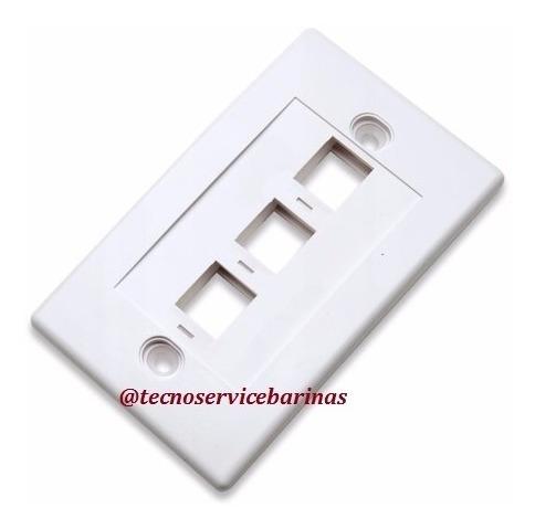 tapa face plate placa frontal 1 y 3 puertos / oferta