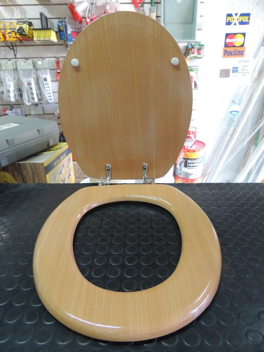 Tapa inodoro water madera herrajes de metal for Tapa inodoro madera