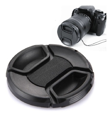 tapa lente camara 62 mm pellizco central negro