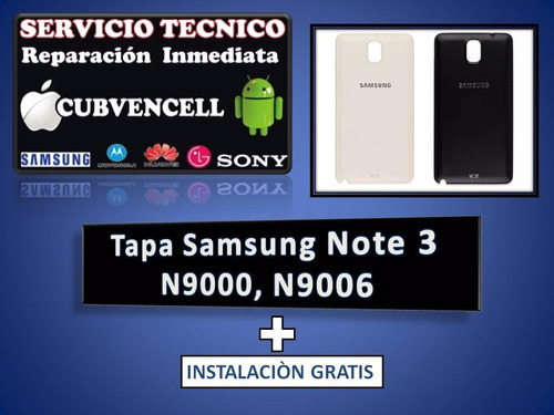 tapa samsung note 3 n9000 & n9006 + intslación gratis