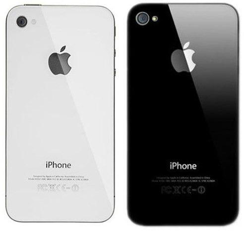 tapa trasera cristal iphone 4, 4s blanca y negra instalada