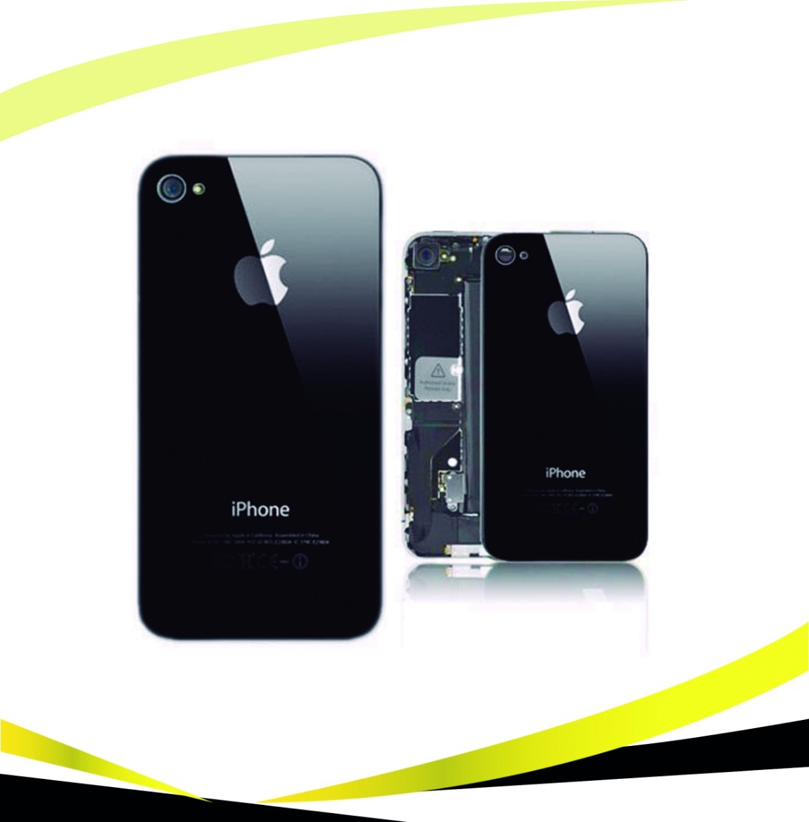 da021795b7a Tapa Trasera iPhone 4 / 4s Apple Cristal Negro Blanco. - Bs. 16.000 ...