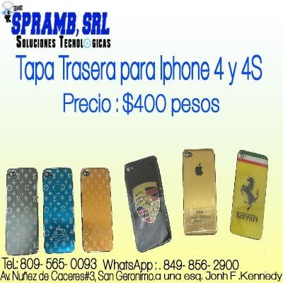 tapa trasera para iphone 4 y 4s rd:$ 400 pesos