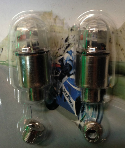 tapa valvula led p/rueda bici moto auto tuning azul  c/ u