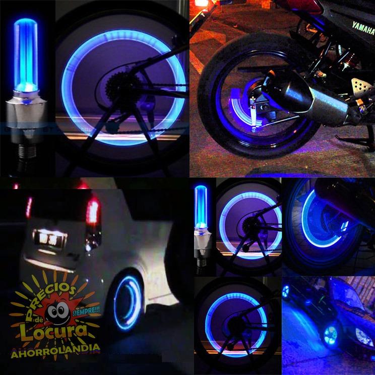 Tapa Válvulas Luz Led Tipo Neón Para Carro Moto O Bicicleta