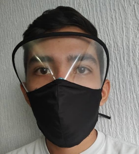 tapabocas con visor y tapabocas  normales elaborados en tela