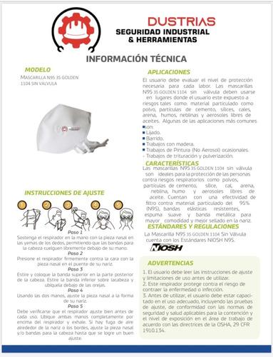 tapabocas kn 95   certificado niosh termosellados