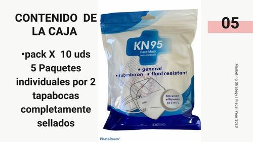 tapabocas kn95 pack x 10 uds resistente a fluidos importados