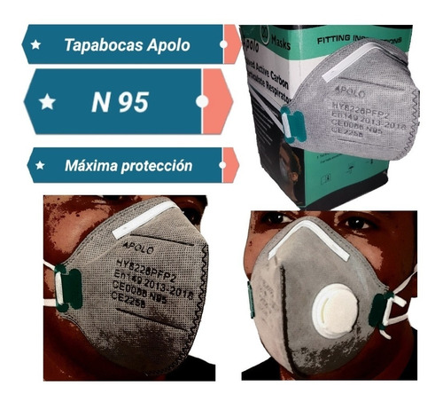 tapabocas n95 apolo máxima protección antivirus envio gratis