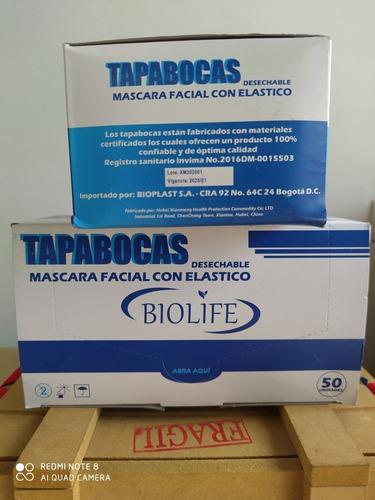 tapabocas quirúrgico x 50 unidades biolife - unidad $1.400