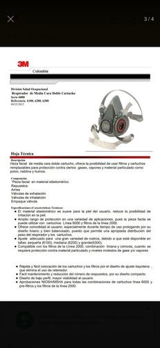 tapabocas respirador 3m 6200 con filtros 2097 p100