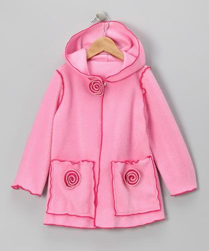 tapado abrigo micropolar rosado flores y gorro talla 4 a 10