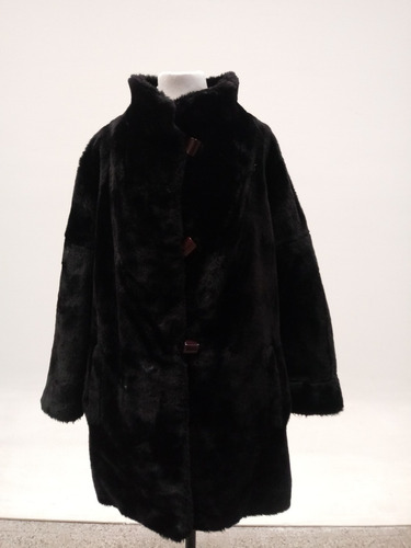 tapado francés abrigo piel sintética negro mujer