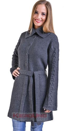 tapado largo tejido con lazo mujer hermosos otoño invierno