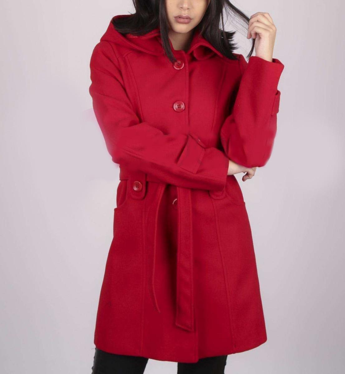 2699be9addae9 Tapado Saco Paño Largo Rojo Capucha Desmontable Abrigo Mujer ...
