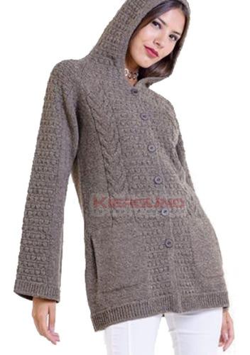 tapado saco c/ capucha tejido lana otoño invierno marron
