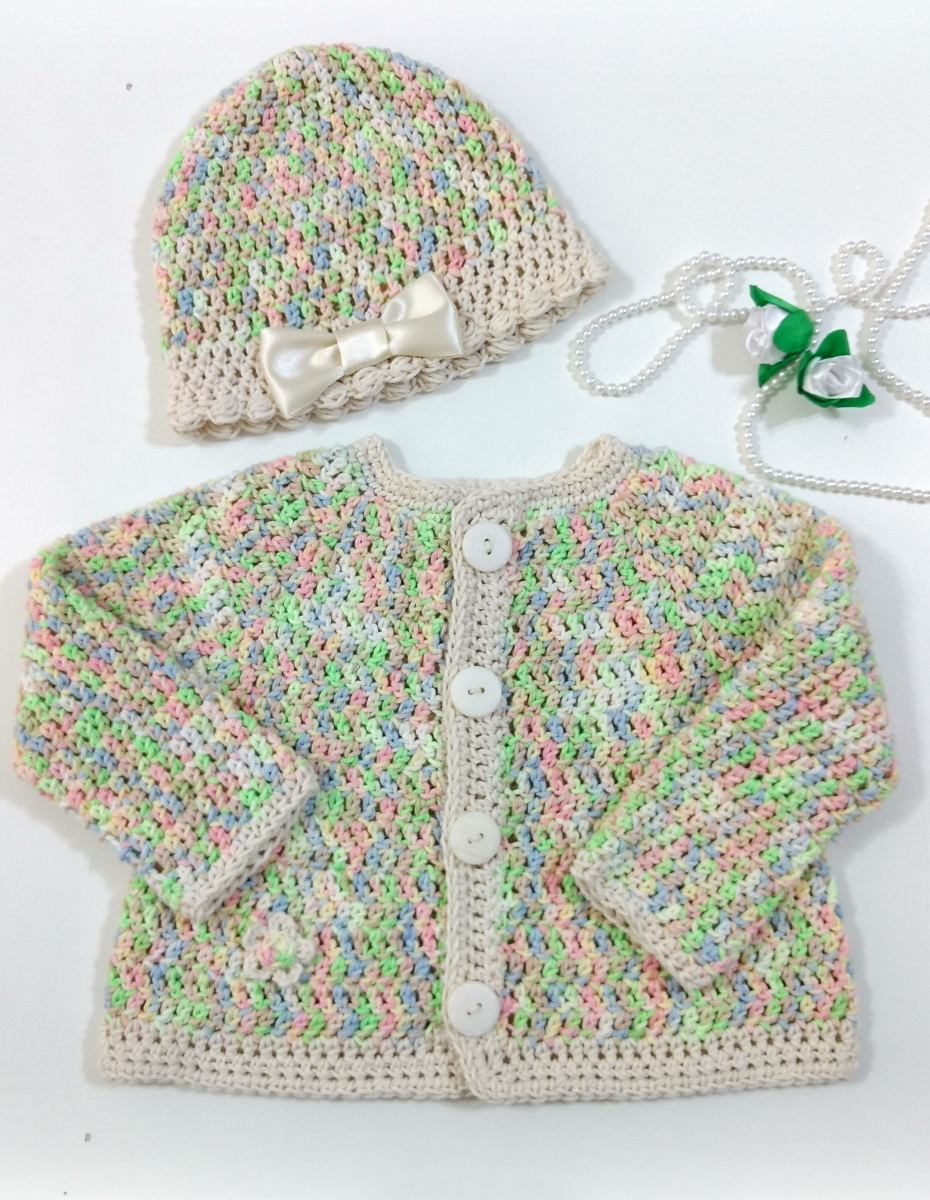 5c24defb1 Tapado Saco + Gorrito Bebe. Tejido Crochet - 3 A 24 Meses -   350