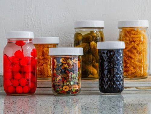tapas de plástico para mason jar boca ancha (8 pack)