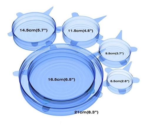 tapas silicon ajustables reutilizables ecológicas 6 pzs