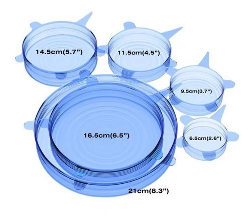 tapas silicon reutilizables set de 6 piezas
