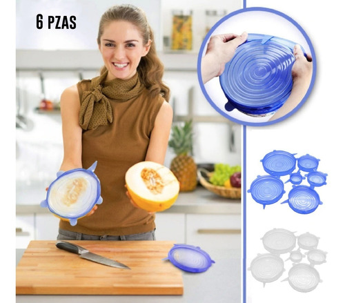 tapas silicon reutilizables tupper flexibles antiderrame 6pc