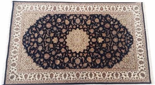 tapete 150x92cm kermansha fino com seda artesanal certificad