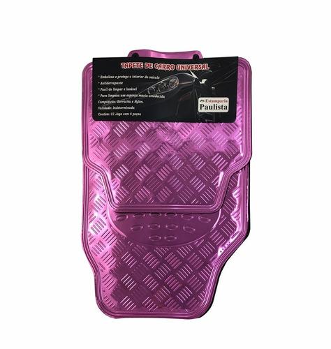 tapete automotivo alumínio rosa carro universal 4 peças