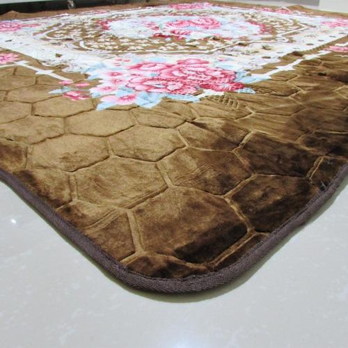 tapete aveludado 3d estampado florbella marrom 2,00mx2,50m