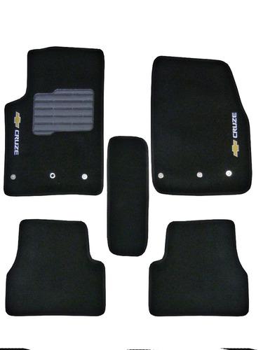 tapete carpete cruze 11-14 personalizado preto c logo 5peças