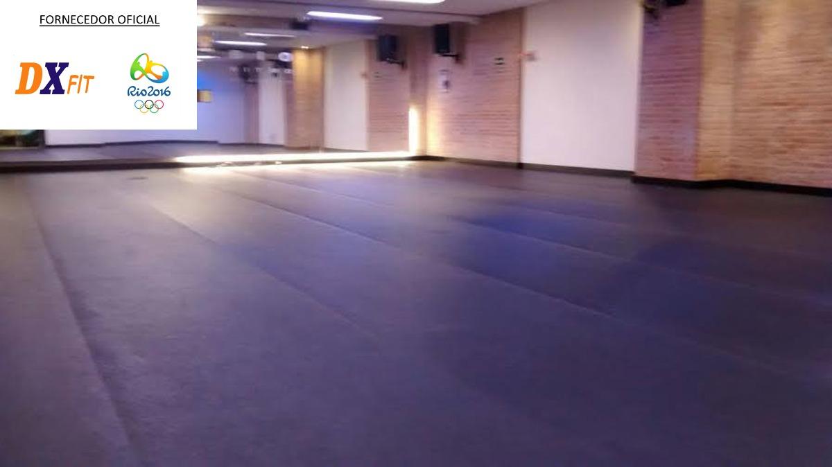 Tapete Carpete Fitness Academia Espa O Crossfit Emborrachado R 64  -> Tapete Para Sala Pvc