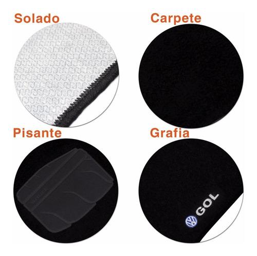 tapete carpete gol g3 2000 a 2005 preto 5 peças logo bordado