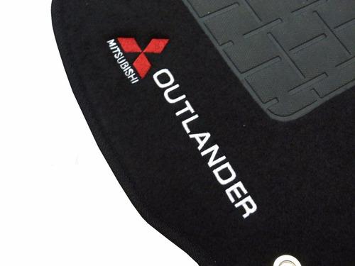 tapete carpete mitsubishi outlander preto com logo bordado
