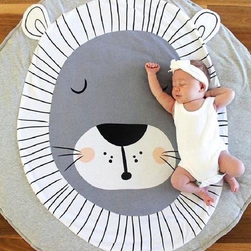 tapete colchón circular para bebé de león acolchado regalo