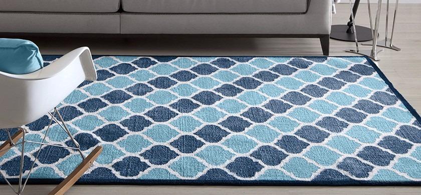 Tapete Corttex Granada Geometrico Azul 150x100cm Fatex R  ~ Tapete Para Quarto Azul