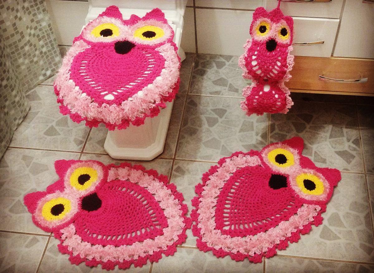 Tapete Crochê Banheiro Coruja - R$ 125,00 em Mercado Livre
