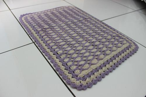 tapete crochê lilás c/ cru