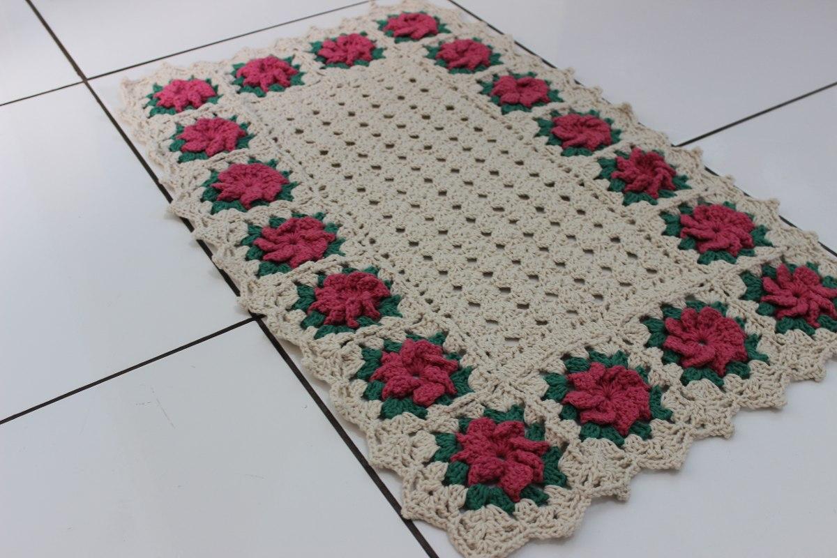 Tapete croch retangular floral r 59 00 em mercado livre for Tapete floral