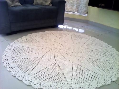 tapete crochê sala grande 1.60metros promoção croche barato