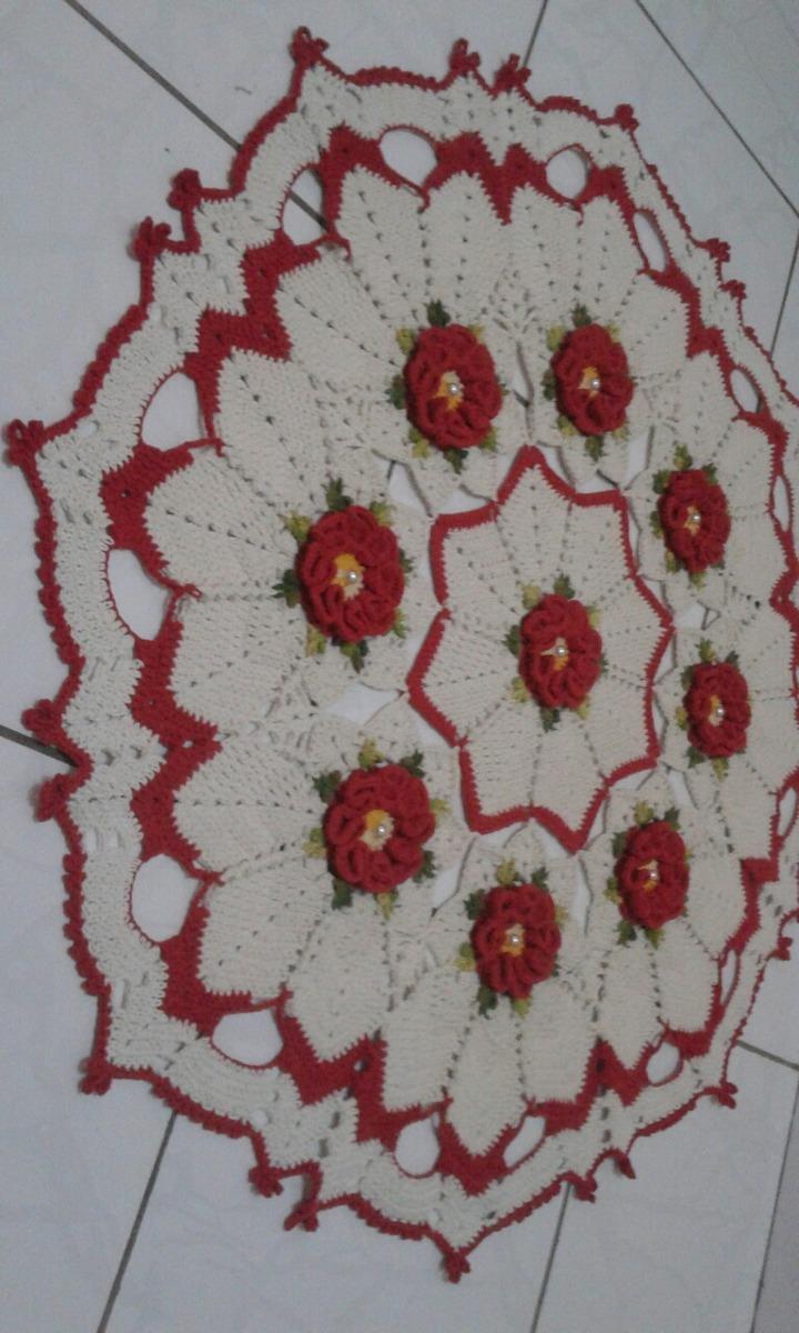 Tapete Croche Redondo Grande Com Flores R 185 84 Em Mercado Livre -> Tapete Croche Grande